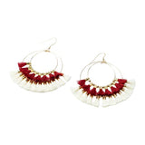 Double Tassel Hoop Earrings | Red, White | Indie Collection | Handmade Fashion Jewelry | Wholesale | Marli and Lenny