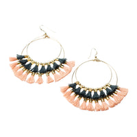 Double Tassel Hoops Gray/ Blush