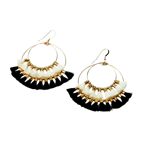Double Tassel Hoops White/Black