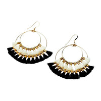 Double Tassel Hoop Earrings | White, Black | Indie Collection | Handmade Fashion Jewelry | Wholesale | Marli and Lenny