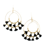 Black Mini Tassel  Hoops