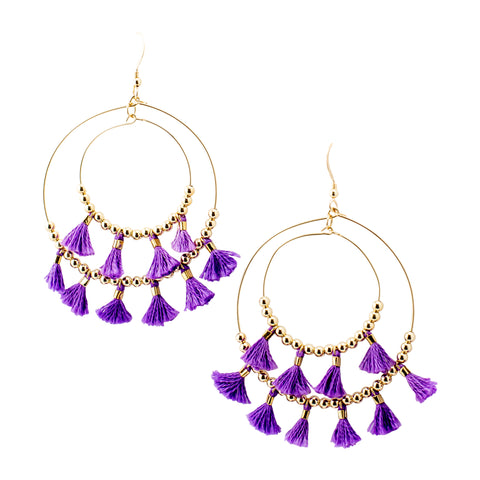 Purple Mini Tassel  Hoops