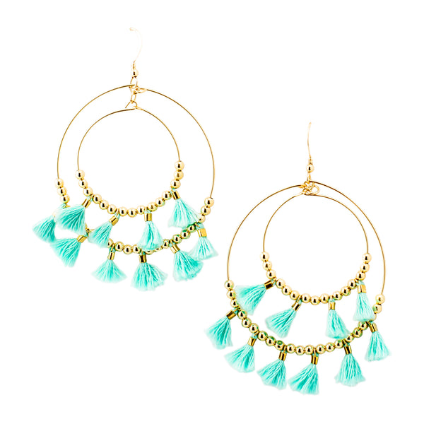 Aqua Mini Tassel  Hoops
