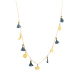 Multi Charm Necklace with Tassels