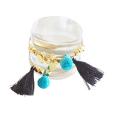 Tassel and Pompom Wrap Bracelet