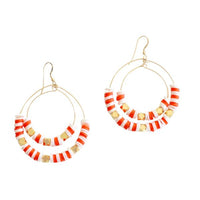 Striped Double Hoops | Coral, White | Neon Collection | Handmade Fashion Jewelry | Wholesale | Marli and Lenny