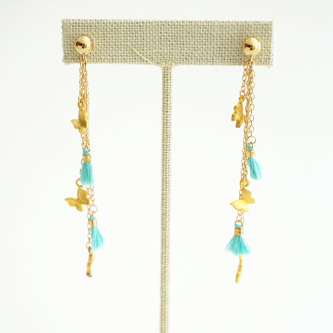 Multi Charm Earrings With Tassel