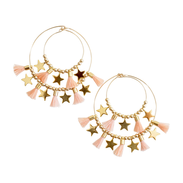Blush Double  Tassel  Hoops w/ Stars