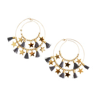 Gray Double  Tassel  Hoops w/ Stars