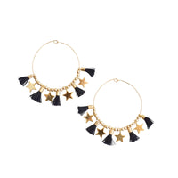 Black Single Tassel Hoops w/ Stars