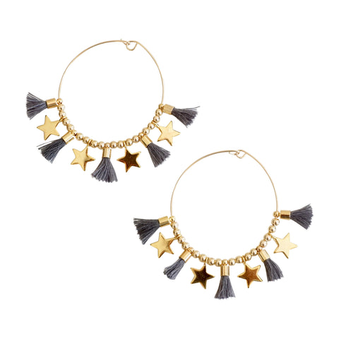 Gray  Single Tassel Hoops w/ Stars