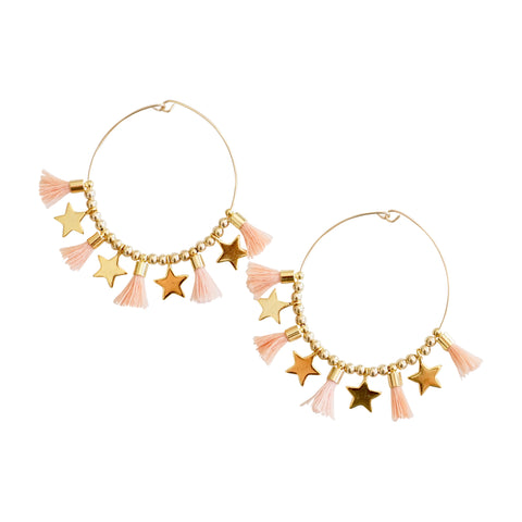 Blush Single Tassel Hoops w/ Stars