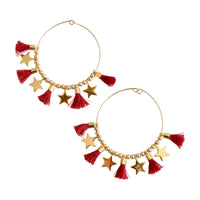 Red Single Tassel Hoops w/ Stars