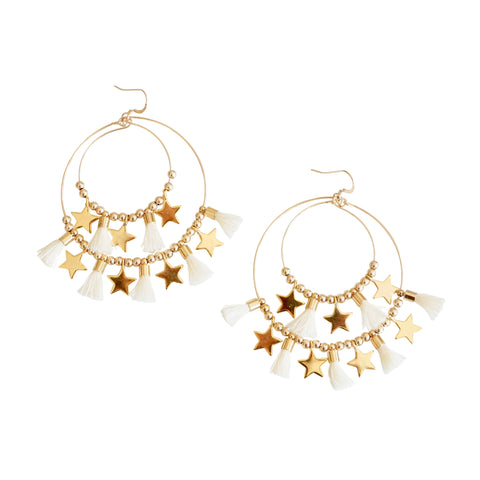 White Double  Tassel  Hoops w/ Stars