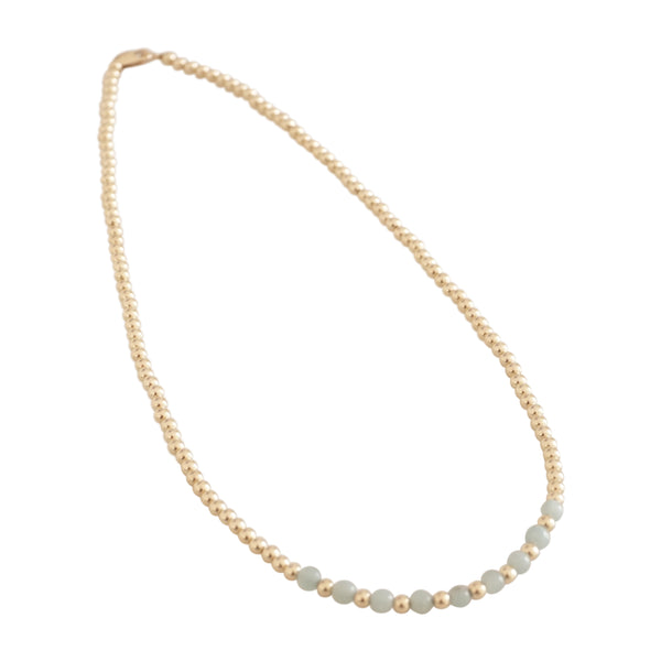 Gold  beaded necklace with alternate center (More Colors Available)