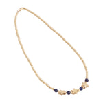 Gold Beaded Necklace with Stone and Charm center (More Colors Available)