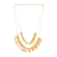Short Double Tassel Necklace | Peach, White | Indie Collection | Handmade Fashion Jewelry | Wholesale | Marli and Lenny