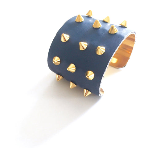 Blue Leather Studded Cuff