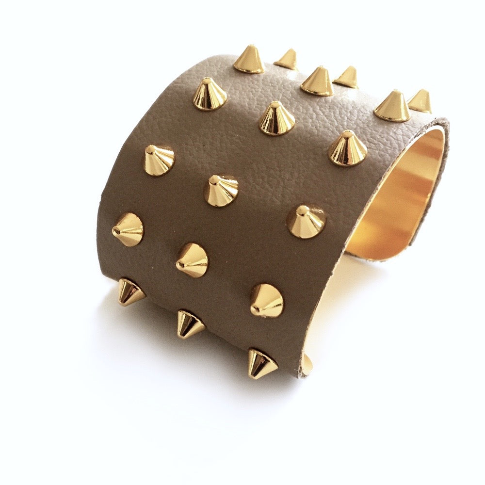 Beige Leather Studded Cuff