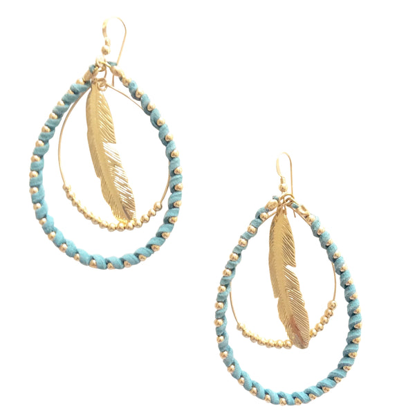 Light Blue Feather Hoops