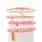 Set of Four Small Pink Beaded Bracelet