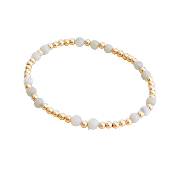 Gold Filled Beaded  Bracelet w disc accents (More Colors Available)
