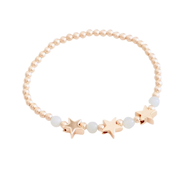 Gold filled bracelet with  Stars or Hearts center (More Colors Available)