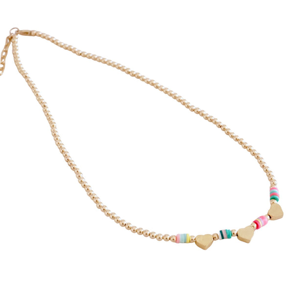 Gold Beaded Necklace with multicolor disc and Charm center