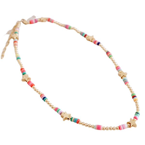 Gold Filled Beaded Stars or Hearts Necklace w/ multicolor disc