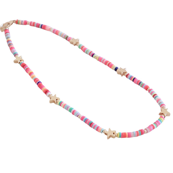 Multicolored Disk  Necklace with  Stars or Hearts Accent
