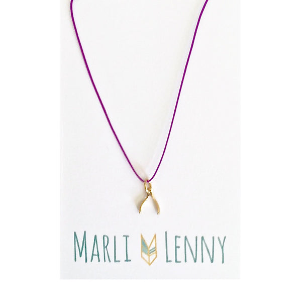 Wishbone String Charm Necklace