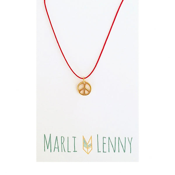 Peace Sign String Charm Necklace