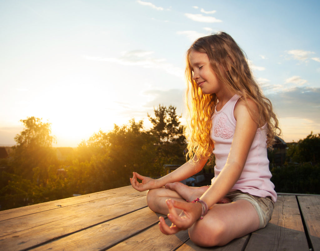 Little Girl Meditating Creating Zen