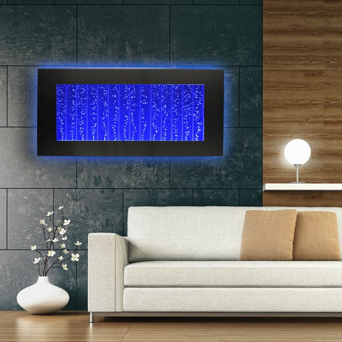 Bubbling Panel Above Couch With LED Lights
