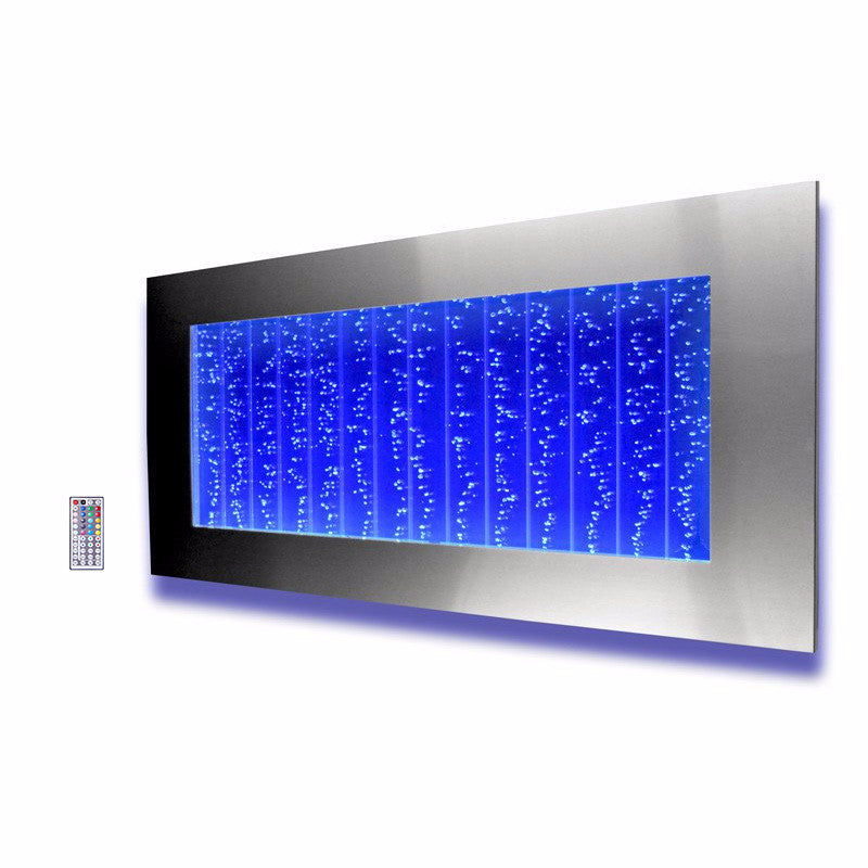 Horizontal Wall Mount LED Bubble Wall Indoor Fountain Water Feature ...
