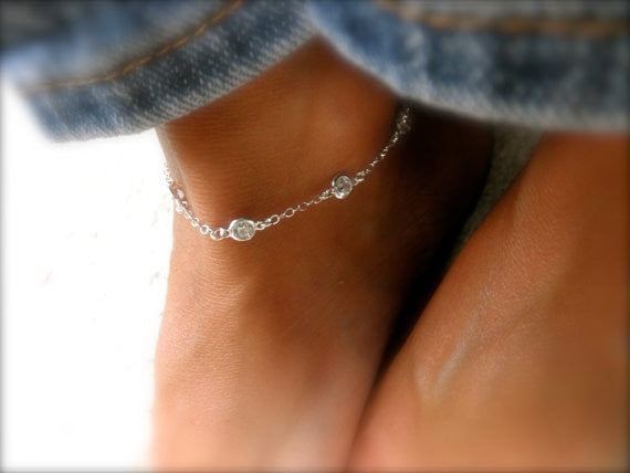 21+3cm AAA+ Cubic Zirconia Woman Anklets Casual/Sporty Gold Color 925 sterling sillver Women Ankle Bracelet Jewelry
