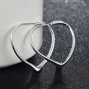 925 Silver Sweet Heart Hoop Earrings For Women Girls Wedding Party Jewelry Gift