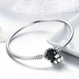 High Quality Authentic 925 Sterling Silver Blue Eyes Clear CZ Snake Chain Heart Bangle & Bracelet Luxury Jewelry SCB012