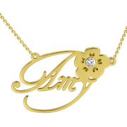 """Amy""Style 14k Gold Personalized Swarovski Inlay Name Necklace Adjustable Chain - onlyone"