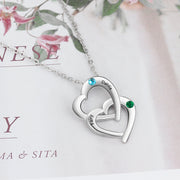 Personalized 925 Sterling Silver Interlocking Heart Necklace with 2 Birthstones Custom Engraved Name Silver Pendants for Women