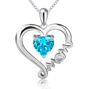 100%925 sterling silver mother love pendant necklace with blue CZ diy fashion jewelry making mother's day gift hot
