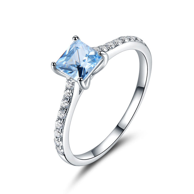 Sky Blue Topaz Rings for Women Real Solid 925 Sterling Silver Korean Gemstone Ring Birthstone Girl Gift Wholesale Jewelry