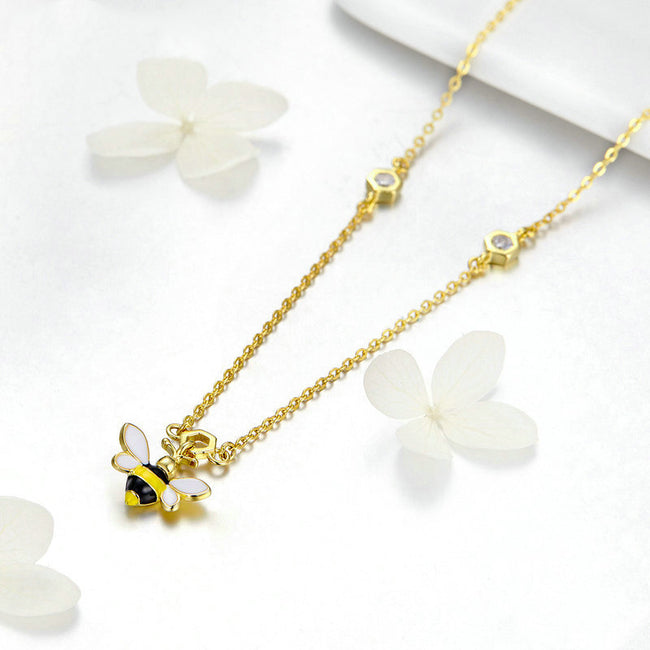 Summer Bee Necklaces 925 Sterling Silver Gold Color Animal Pendant Long Chain For Women Wife Gifts 925 Jewelry CTN050