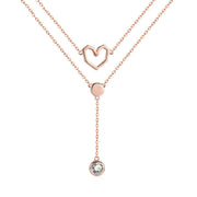 925 Sterling Silver Heart Zircon Necklaces Pendant Double Chain Rose Gold Necklace Luxury Jewelry Love Gift CQN317