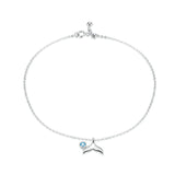 Blue Ocean Mermaid Bracelet for Ankle 925 Sterling Silver Fish Tail Foot Anklets Bracelets Jewery for Leg SCT004