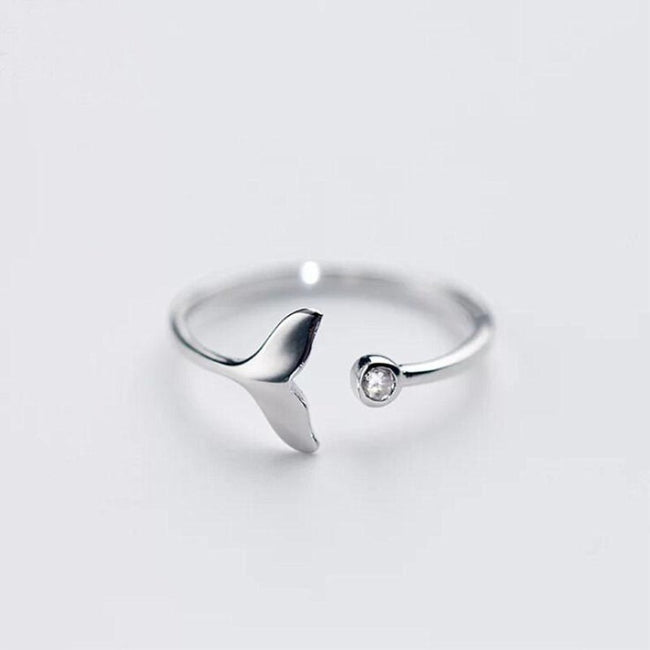 New Arrival Personality Beautiful 925 Sterling Silver Jewelry Fishtail Fish Wave Crystal Opening Rings  SR74