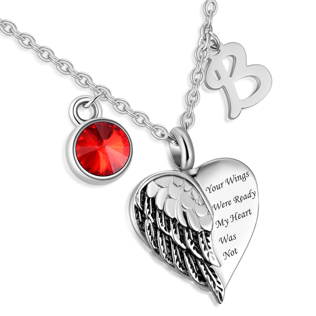 Your wings were ready my heart was not cremation necklace memorial ashes urn fashion jewelry keepsake pendant