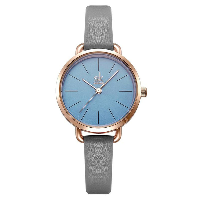 Leather Women Watch Ladies Grey Thin Band Strap Green Simple Dial Women Quartz Watches with Gift Box Reloj  Mujer