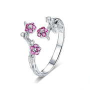 925 Sterling Silver Winter Blooming Plum Flower Open Size Rings for Women Wedding Engagement Jewelry BSR022