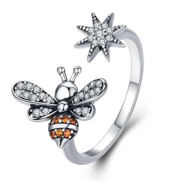 100% 925 Sterling Silver Trendy Bee & Daisy Flower Finger Rings for Women Adjustable Size Valentine Gift Jewelry SCR422